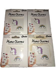 8 iDecoz iPhone Charms ~ 4 Unicorn & 4 Rainbow Stick-on Charms ~ Lot of 4 (2pk)