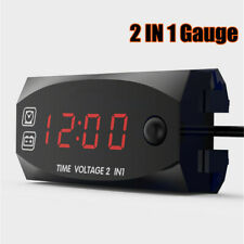 Digital Display Voltmeter Voltage Time Clock 2IN1 Gauge Panel Meter Car Motor