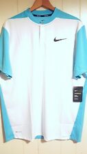 Nike Flyknit Snap Polo Golf Shirt Men Size Large Tall Blue & White NEW $90.00