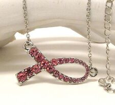 Silver Tone / Pink Crystal Breast Cancer Awareness Pink Ribbon Necklace
