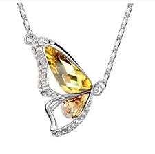 Women Yellow Citrine Crystal Butterfly Silver Pendant Free Necklace Xmas Gift