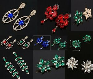 New Style Red, Clear, Blue, Green Diamante Rhinestone crystals Earrings