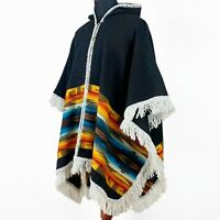 Alpaca/Llama wool Unisex Hooded Cape Poncho Authentic S. American Aztec pattern