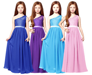 Junior Lace Maxi Chiffon Dress for Wedding Bridesmaid Party Gown age 6-14Y