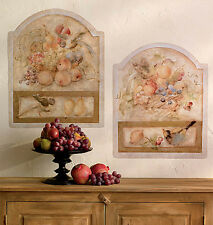 Tuscan Fresco Tiles 2 Large Wall Murals Stone Fruit Birds Tuscany Mural Stickers
