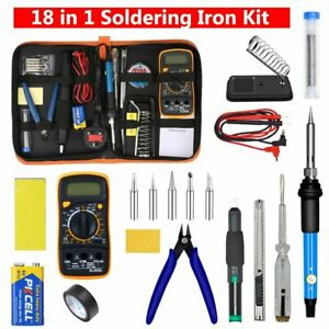18PCS Soldering Iron Kit 60W Repair Welding Tools with Adjustable Temp 200-450°C