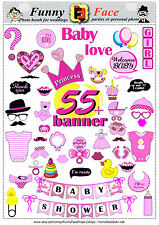 55 Baby Shower girl Photo Booth Props  banner - Instant Download - Printable