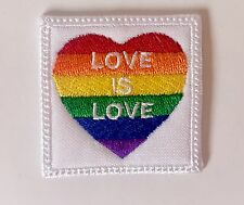 Rainbow Pride Heart, Love Is Love Embroidered Iron On Patch, Free Ship