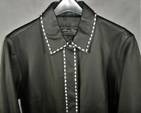 Womens Small Terry Lewis Black Leather Jacket Coat White Stitching - NWT