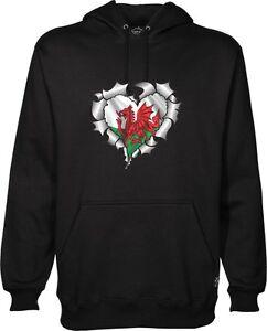 Ripped Torn Metal HEART Rip Design & Welsh Wales CYMRU Flag Unisex Hoodie Hoody