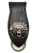 Biker Skull Indian Trucker Blue Stitch Leather Belt Clip Keychain Key Holder