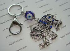 Feng Shui - Blue Evil Eye with Lucky Elephant Keychain (Jealousy & Backstabbers)
