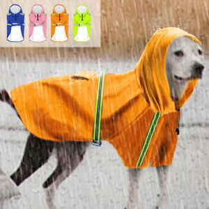 Reflective Dog Rain Coat Waterproof Large Medium DOg Hoodie Clothes Rainwear
