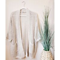 URBAN OUTFITTERS Medium Open Knit Oversized Cardigan Sweater Taupe