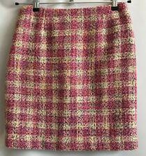 Anne Klein Women's Pencil Skirt Size 6 Lined Mini Plaid Textured Knit Back Zip