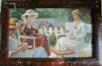 Original Oil Paintings Portrait of Ladies, Women, tea party, signed A. Hopkins