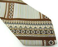Paulinetrigère Vintage 1970s Tie Brown Blue Stripe Necktie
