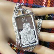 New Sterling Silver plain  bullion pendant with 1oz fine silver ingot & chain