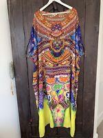 CAMILLA FRANKS Sacred Charm Dress Yellow Green Blue Orange Beaded Long Kaftan