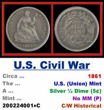 Silver ½ Dime (5¢) • U.S. Civil War Period • Dated 1861 • No MM (P) • 2002241•C