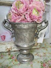 0Blumentopf Metall Amphore Vase Metall Patina Shabby Vintage Antik Silber Deko