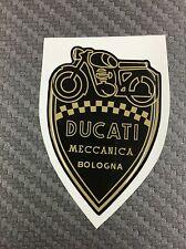 1 Stickers Scudetto DUCATI Meccanica Vintage Gold & Black 3D resinato 100 mm