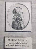 M de La Fayette Lafayette Rare Gravure de la Révolution Française
