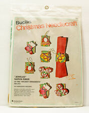 Vintage Bucilla Christmas Jeweled Napkin Rings Set of 8 Kit 1892 Wool Blend New