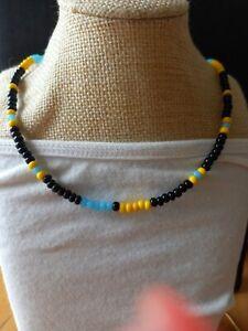Black blue & yellow glass seed bead necklace ~ surf beach Boho ~ love beads