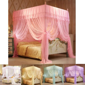 4 Corner Bedding Mosquito Net Bed Curtain Canopy + Bedding Frame Post Bracket