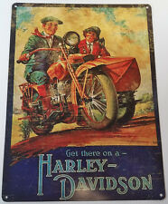 GET THERE ON A HARLEY DAVIDSON MAN WOMAN IN SIDE CAR HEAVY DUTY METAL ADV SIGN