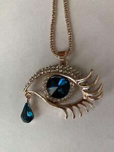 Betsey Johnson rhinestone blue white gold eye teardrop pendant necklace NWT