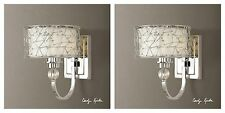 TWO BRANDON MODERN CRYSTAL NICKEL PLATED METAL ELECTRIC WALL SCONCE UTTERMOST