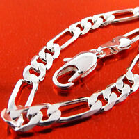 NECKLACE PENDANT CHAIN GENUINE REAL 925 STERLING SILVER SF SOLID FIGARO DESIGN
