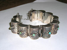 Vintage Mexican Sterling Silver Half Barrel Bracelet Set with Turquoise  Amazing