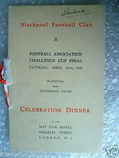 More details for menu 1948 fa cup final blackpool v manchester utd blackpool team's 17 signature