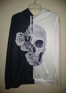 Black White Yin-Yang Rose Floral Skull Gothic Rocker Hoodie Sweatshirt NWOT