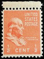 1938 1/2c Benjamin Franklin, Founding Father Scott 803 Mint F/VF NH