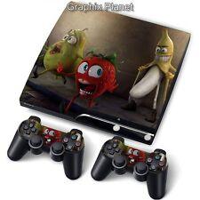 Ps3 Playstation 3 Slim Skin Pegatinas Pvc Para Consola + 2 controladoras Crazy Frutas
