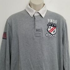 Parish Nation Mens Polo Shirt XL Gray Lacross Pullover 100% Cotton Long Sleeve