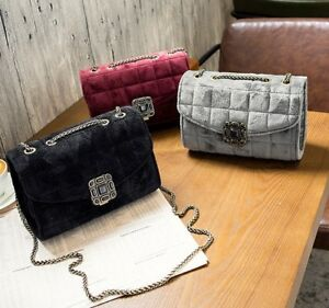 High Quality Quilted Velvet Handbag Chain Shoulder Strap Crossbody Clasp  K90