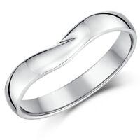 9ct White Gold Wishbone Wedding Engagement Ring Ladies 2mm Width Band
