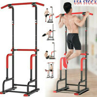 Dip Station Chin Up Bar Power Tower Pull Push Home Gym Fitness Core Exercise US