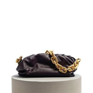 BOTTEGA VENETA 3690$ The Chain Pouch Clutch Bag In Grape Folded Calf Leather
