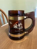 Old Fort Niagara- Youngstown NY Glass Mug Cup with Wooden Handle VTG 16fl Oz