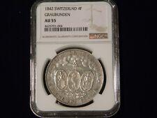 1842 Swiss Cantons Graubunen 4 Franken, NGC AU55
