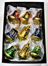 BOX 9 VINTAGE 1980's MERCURY GLASS BELL TINY CHRISTMAS FEATHER TREE BAUBLES