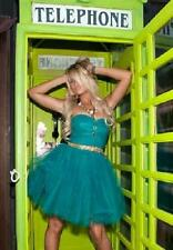 Betsey Johnson RUNWAY Dress RUCHE Teal FIT & FLARE Ballet TULLE TUTU Corset 0 XS
