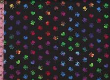 1/2 Yard Cotton FLANNEL Jeweltone Tie Dye Dog Cat Paw Prints on Black  BTHY