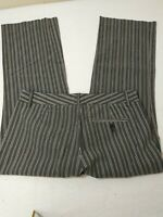 Express Women's Pants Size 4 Editor Gray Striped Dress Slacks Cropped 30X24